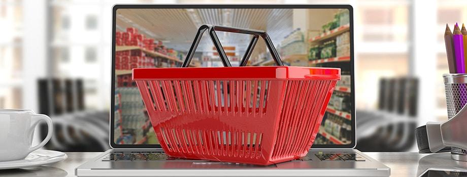 Shopping basket on a laptop