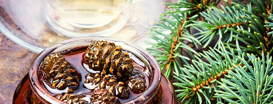 Jam from pine cones for tea natural medicine.