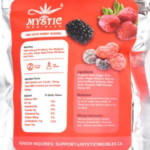 mystic medibles cbd sour berry bombs